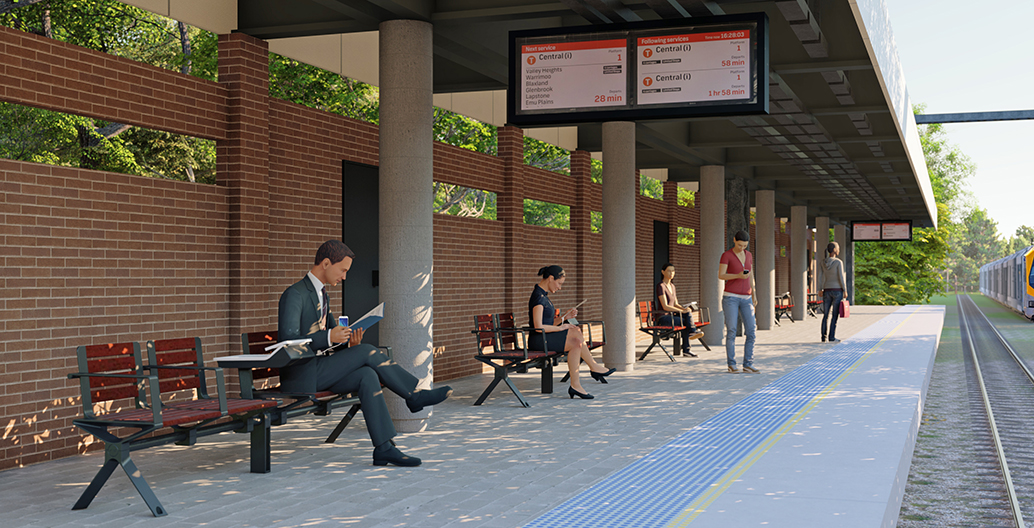 Aria Transit Seats with PowerMe™ Tables offer commuters a more comfortable place to wait for the next connection.
