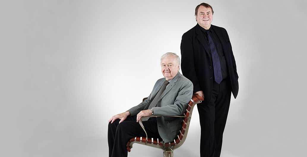 Founding Directors Darrel Conybeare and William Morrison, with their first product, the Classic Plaza Seat.