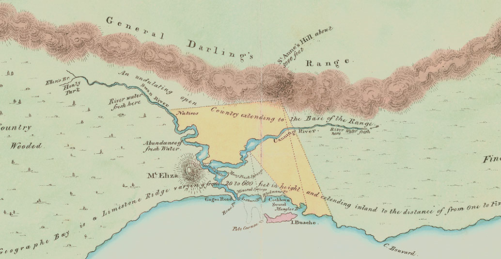 Stirling's Chart of 1827 foregrounds the presence of freshwater across the Swan Coastal Plain.