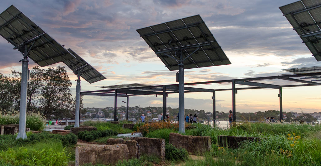 Solar Trackers at the Coal Loader Platform. Image: Nat Hughes
