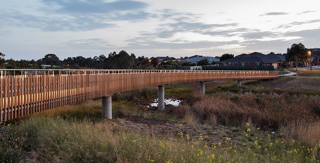 Site Office designed two elegant bridges to cross Skeleton Creek in Truganina in Melbourne's West.