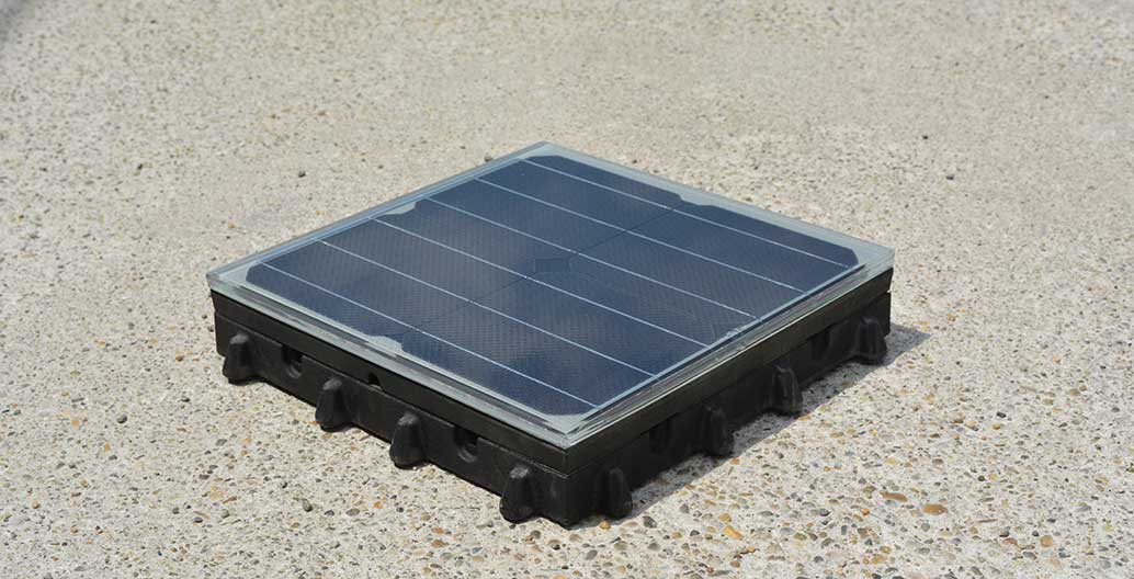 Platio is a modular solar paving system made from recycled plastic
