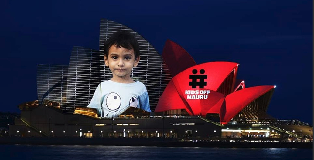 Activists also riff on the concept design for the projections on Sydney Opera House. Image: Kids off Nauru