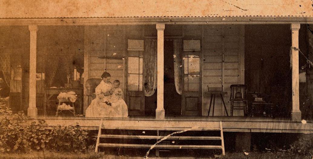 Edmund Rawson's veranda in 'the hollow'.