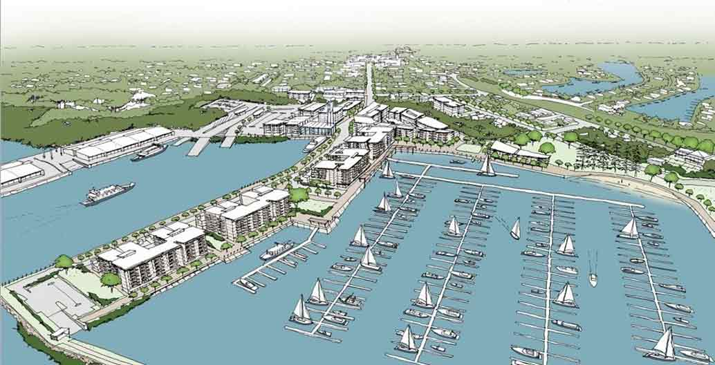 A proposed 200 berth marina at Toondah Harbour Image: The Walker Ground