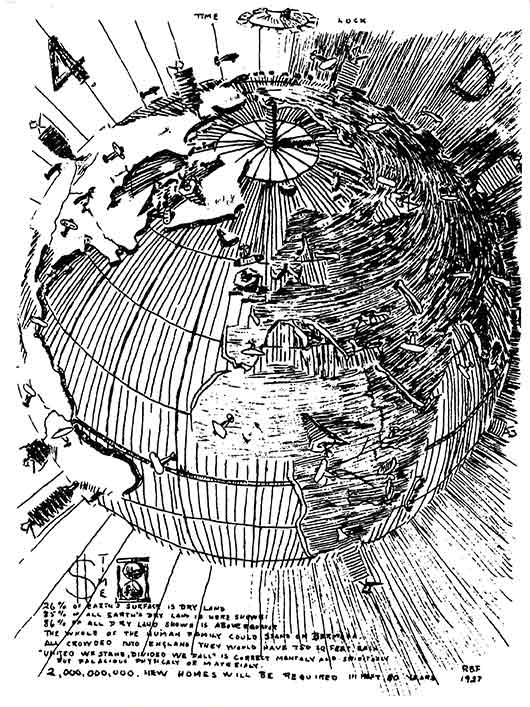 Ten years before the first electronic computer and two decades before the first Earth observation photograph, Richard Buckminster Fuller published his 1927 diagram proposing a '4D Air-Ocean World Town Plan'. Image: John Ferry/The Estate of R. Buckminster Fuller