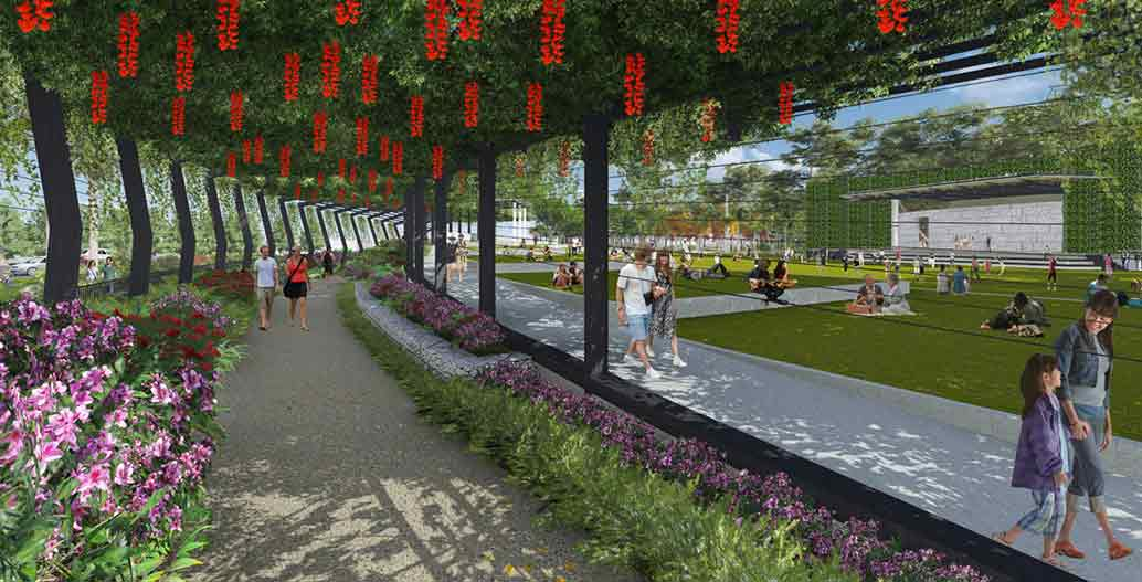 Artists impression of vine arbours in the parklands Image: Cairns Regional Council