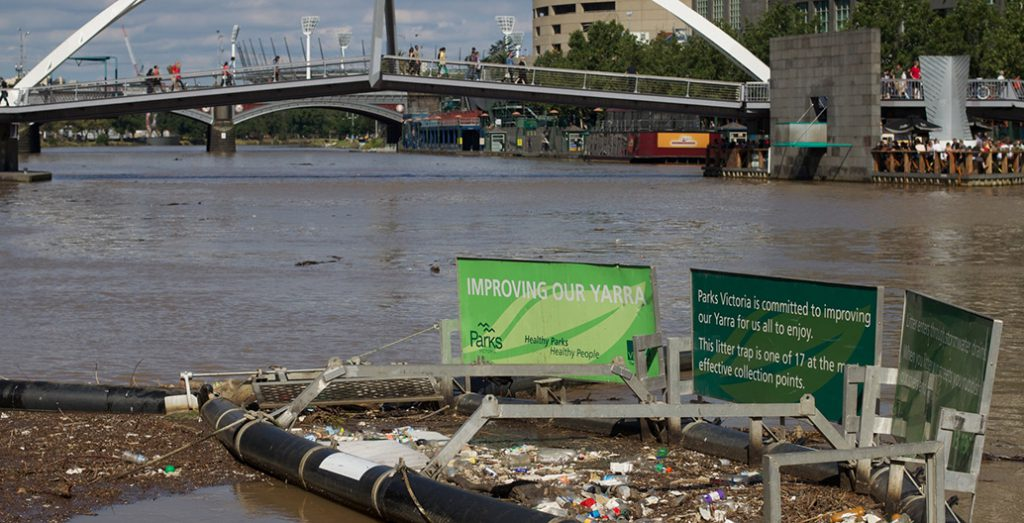 Litter traps on the Yarra River capture tonnes of waste from entering the nearby bay.