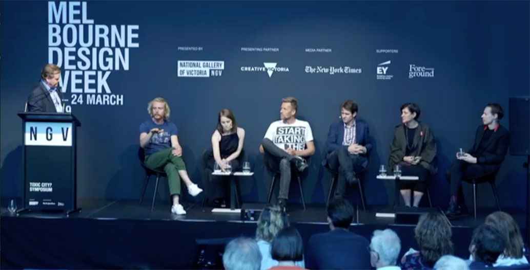 The Toxic City panel, Melbourne Design Week 2019 - from left: Andrew Mackenzie, Ross HArding, Bonnie Herring, Joost Bakker, Craig Reucassel, SueAnne Ware, Daan Roosegarde