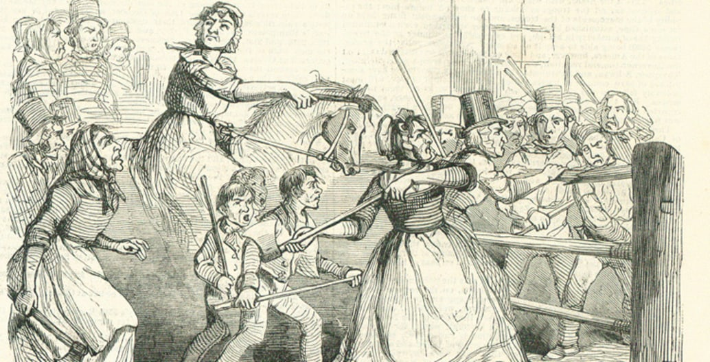 The 19thC Rebecca riots: an uprising of farmers against tolls imposed for use of roads to get produce to market.