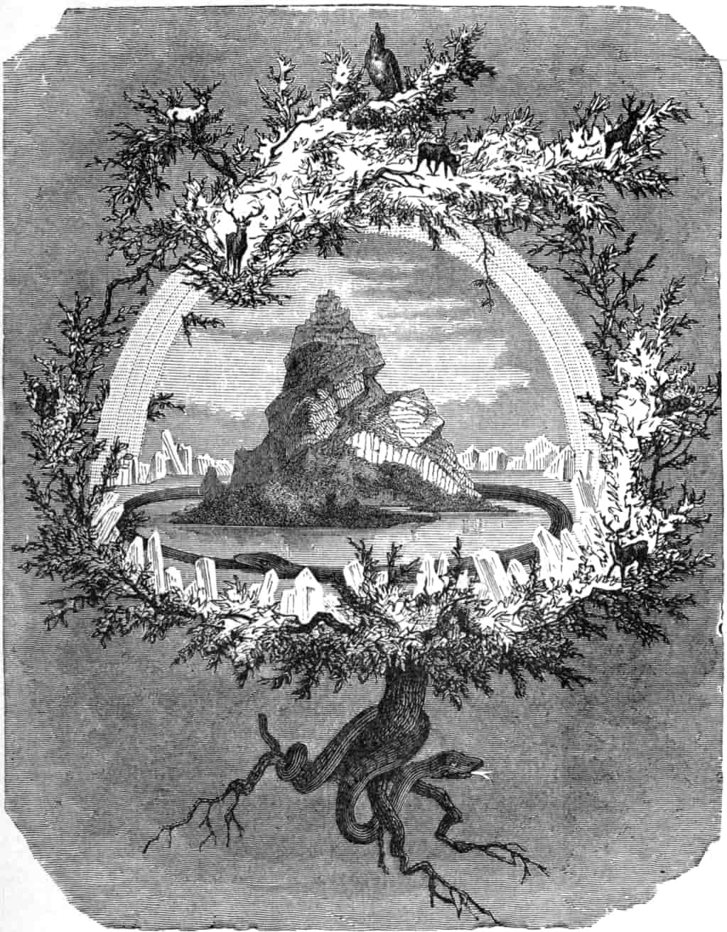 Old Norse world-ash Yggdrasil, whose roots reach down into hel, the region of the dead, while its topmost branches touch the realms of the gods. By Friedrich Wilhelm Heine