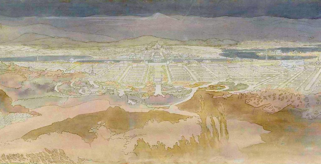 "Detail of Canberra plan submitted to the Canberra design competition by the Griffins – ""View from the summit of Mount Ainslie""."