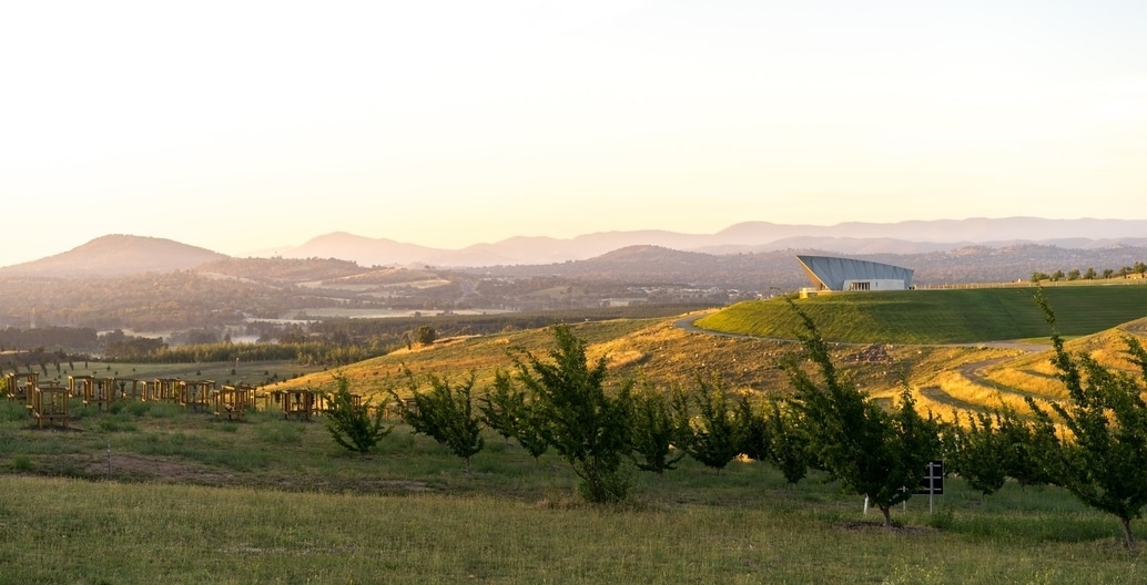 The landscape of the National Arboretum, Canberra, in the Molonglo Valley. Photo: Harry Buck