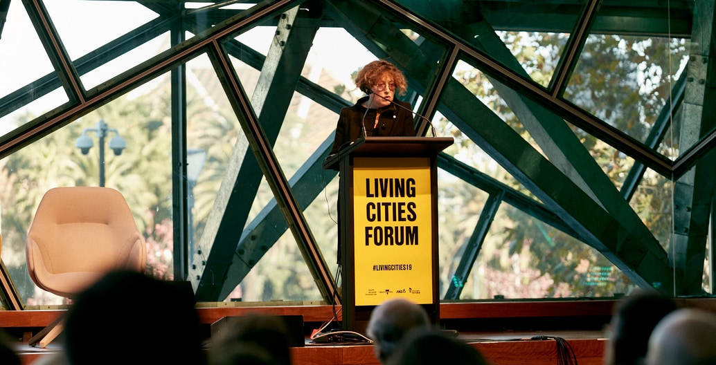 Catherine Mosbach presents at the Melbourne Living Cities Forum at Deakin Edge, Federation Square.
