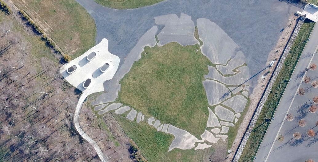 Aerial image of Park Louvre Lens Arts France by Paris-based design firm Mosbach Paysagistes.