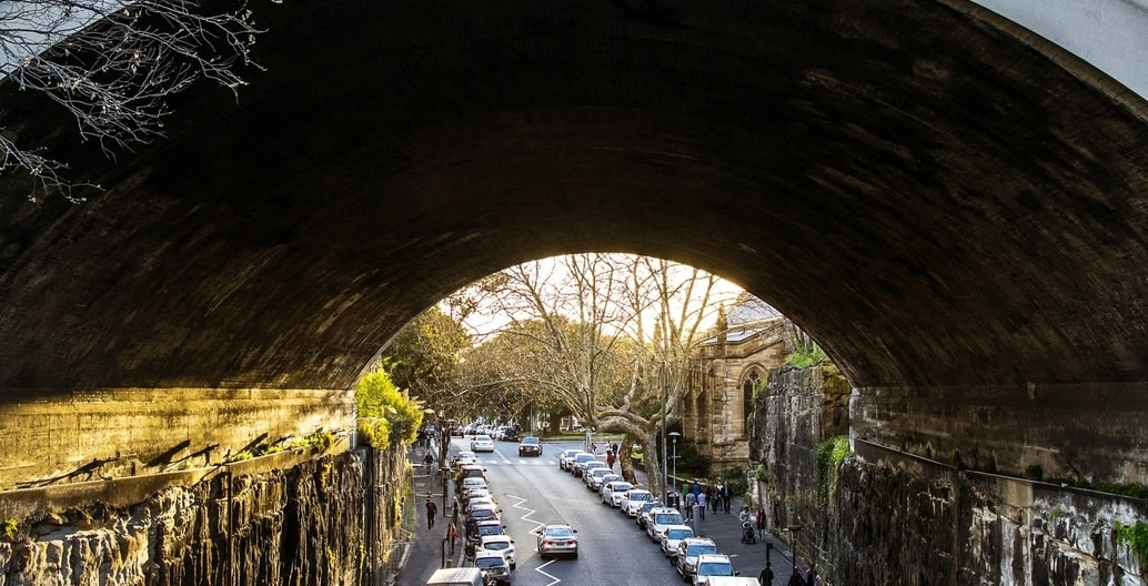 Sydney was created as a dense urban environment perfect for walking, which can still be experienced in suburbs like the Rocks, although carparking flanks all available streets. Photo: Fiona Smallwood