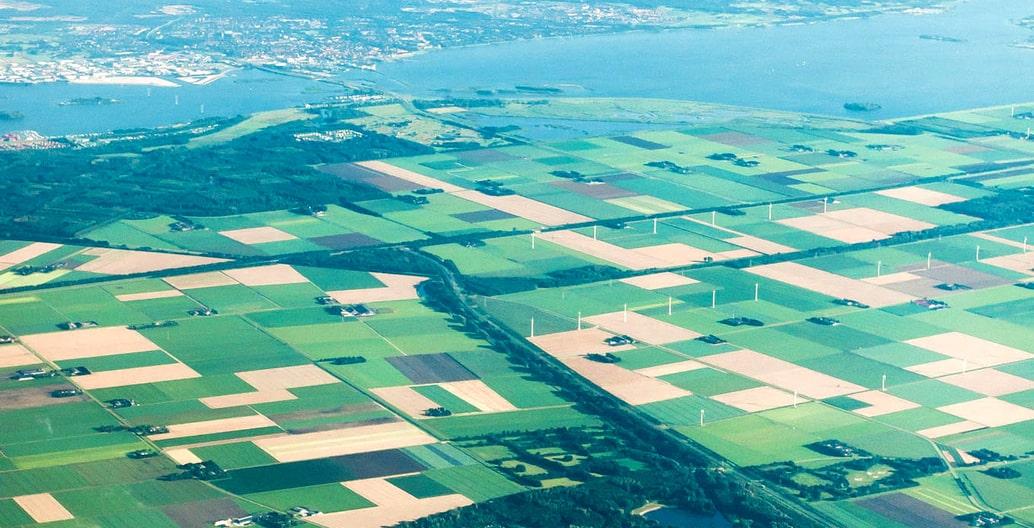 Transitional patchwork agricultural landscape of Flevopolder.