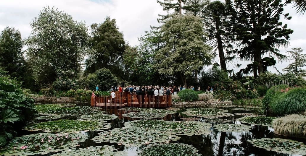 Visitors enjoy an urban nature-based tourism experience on The Lily Pads viewing platform at the Royal Tasmanian Botanical Gardens, Hobart. Photo: Sophie Sullivan