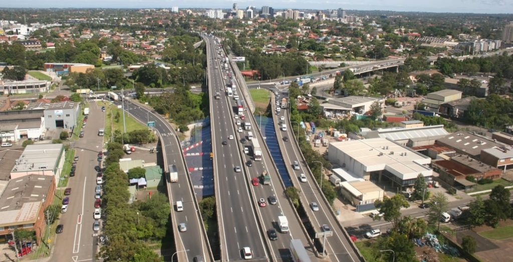 Road infrastructure dominates government spending. Part of the 33km M4 Western Motorway outside Parramatta widened as part of Sydney's WestConnex scheme. Photo: Beau Giles
