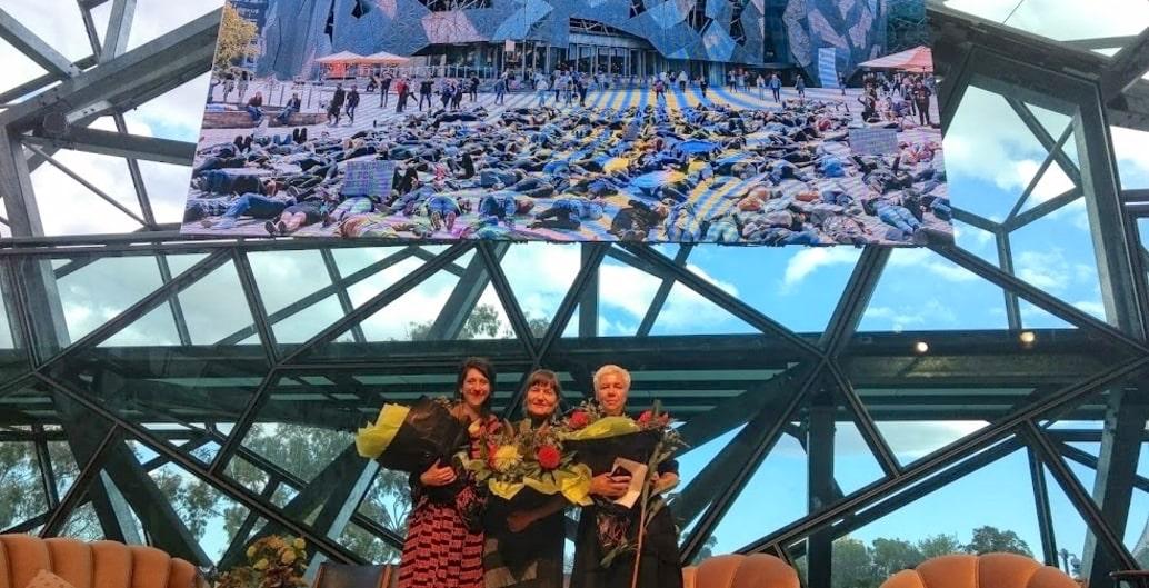 AILA Festival directors Cassandra Chilton (Rush Wright, and Associates), Kirsten Bauer (ASPECT Studios) and Jillian Walliss (University of Melbourne). Photo: Jo Russell-Clarke