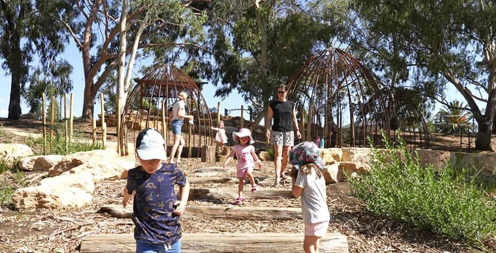 Wathuwardi (Kaurna branch huts) in the natureplay space engage children in the cultural and environmental richness of Felixstowe Reserve. Photo: Same River