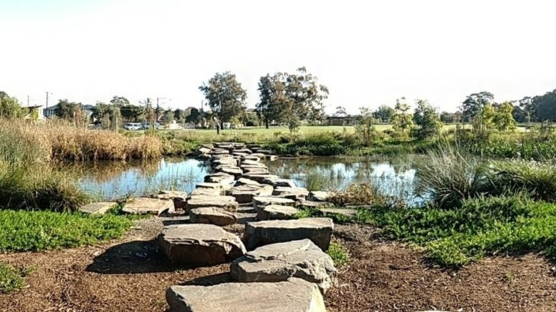 Broad stepping stones cross the easternmost wetland ponds at Felixstowe. Photo: Jo Russell-Clarke