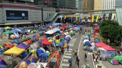 The encampment of the student group Occupy Central with Love and Peace in Admiralty, Hong Kong, September 2014. Students defended themselves with umbrellas that evening when flooded with tear gas. Photo: Wing1990hk