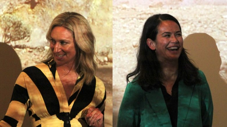 Claire Winsor and Amrita Hepi at a screening of video installation Movement of Place, produced as part of the Kevin Taylor Legacy. Image supplied