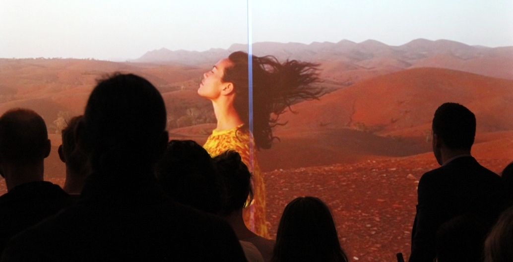 Amrita Hepi on screen. Video installation Movement of Place, produced as part of the Kevin Taylor Legacy. Image supplied