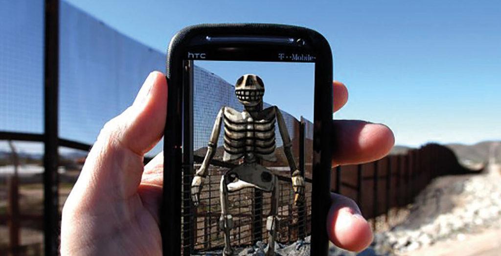 View of Border Memorial: Frontera de los Muertos, John Craig Freeman, augmented reality public art. Southern Arizona, USA. 2012 – Present. Image supplied.