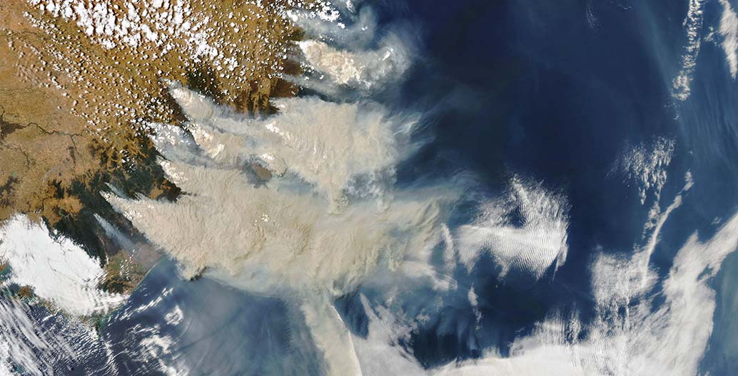Smoke blankets south eastern Australia, 4 January 2020. Image: NASA