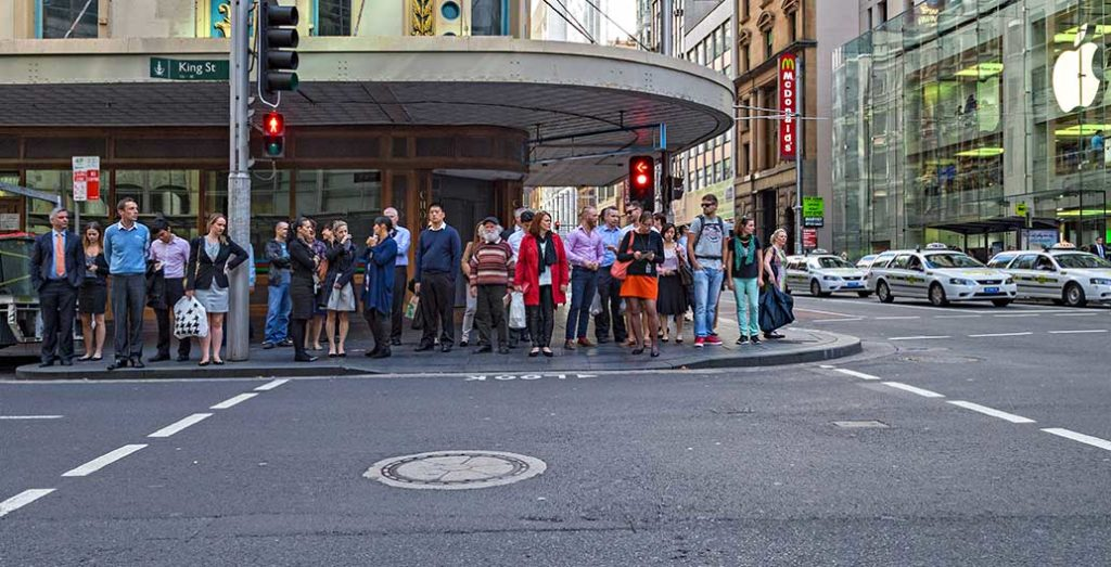 Pedestrians stuck by traffic again, Sydney. Could Urban Operations professionals make our cities run better? Image: Dave Young
