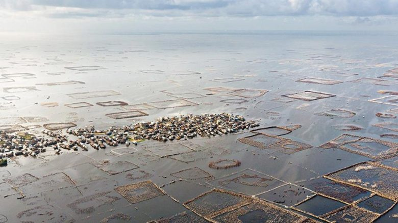Built by the Tofinu, the city of Ganvie floats on Lake Nokoué surrounded by a radiating reef system of 12,000 acadja fish pens. Photo: © Iwan Baan