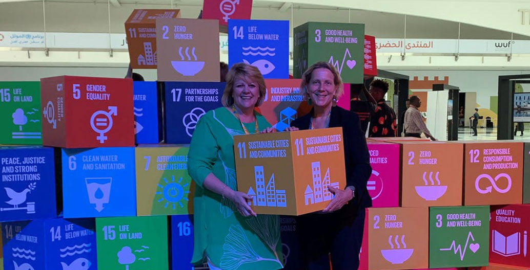 Leading Australian planner Dyan Currie with Barbara Norman and their pick of the SDGs in Abu Dhabi. Image: the author