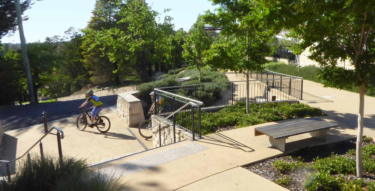 The design of Memory Park in the Blue Mountains west of Sydney deals with significant level changes to connect residential areas public parkland and a train station. Photo: Corkery Consulting