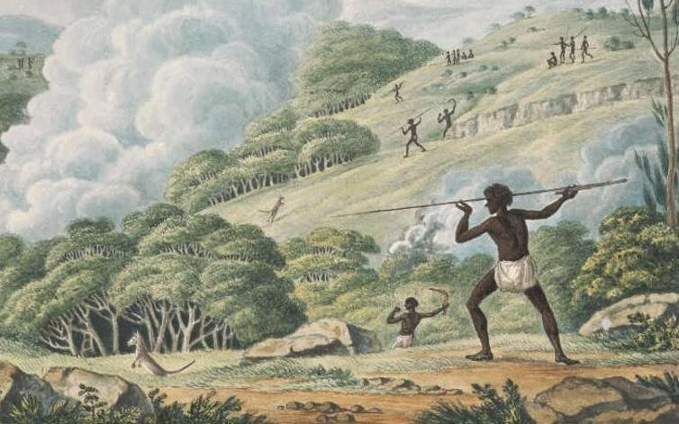 Aborigines Using Fire to Hunt Kangaroos, by Joseph Lycett. Indigenous people have used cultural fire practices for thousands of years. Photo: National Library of Australia