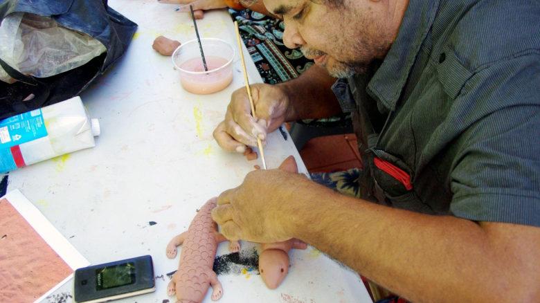 Arnold Smith at an art facilitation workshop for Liyan-ngan Nyirrwa. Image: Vanessa Margetts/Mud Map