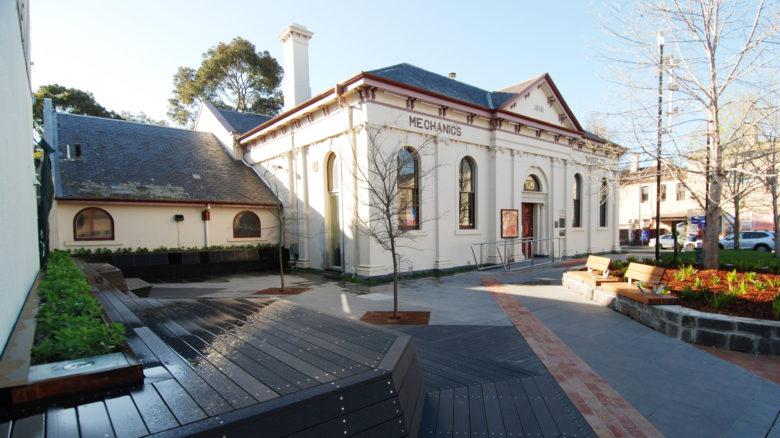 Brunswick Mechanics Institute Forecourt on Sydney Road. Image: courtesy of Moreland City Council