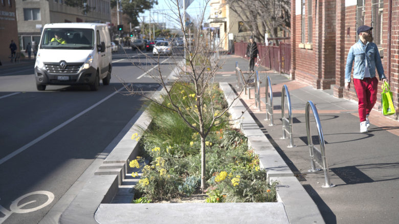 New plantings along the footpath, Brunswick. Image: courtesy of Moreland City Council.
