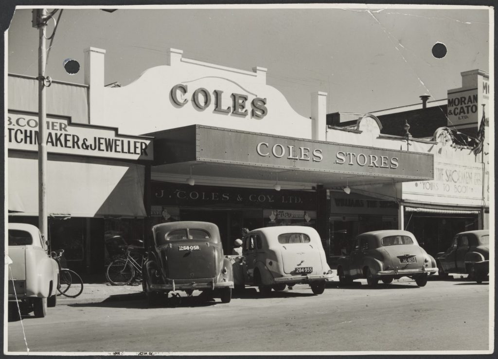 Coles store in Swan Hill, c.1950. With the rise of online shopping, it's not just High Street parking that's at risk anymore, but the High Street itself. Image: M Zaetta (SLV Collection)