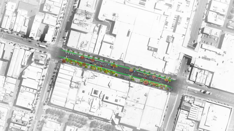 Car parking along Malop Street would be inflected to surrounding streets. Image: Outlines