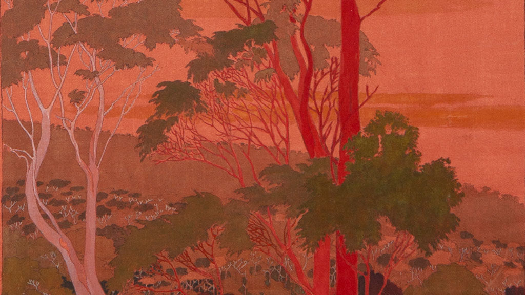 Detail of Marion Mahony Griffin's 'Eucalyptus urnigera Tasmanian Scarlet Bark, sunset (Forest Portrait',) c1918. (c) Mary + Leigh Block Museum of Art.