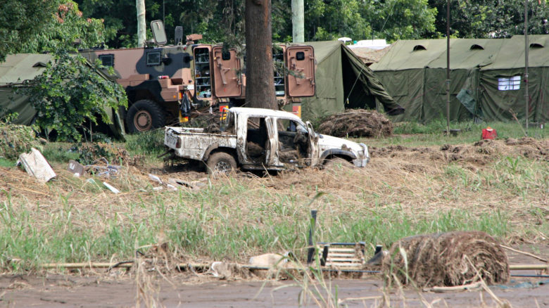 Remains of a flood damaged utility truck in Grantham 2011. Image: Angela Ritchie