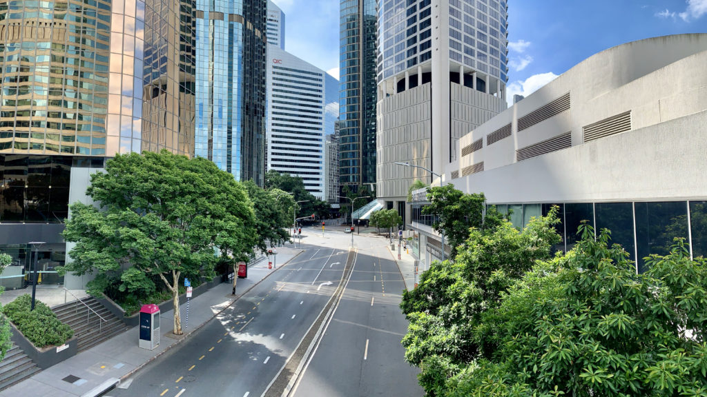 An empty Eagle Street in inner city Brisbane, March 2020, during the COVID-19 pandemic. Photo: Kgbo (cropped from original)