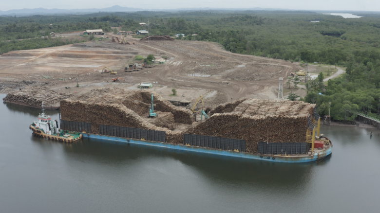 Forest products being loaded in East Kalimantan