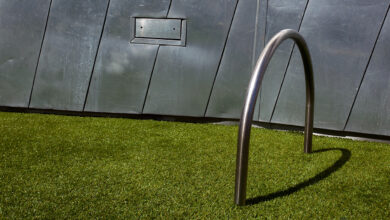 Bicycle stand on fake grass, Federation Square, Melbourne, Victoria, Australia (2009).