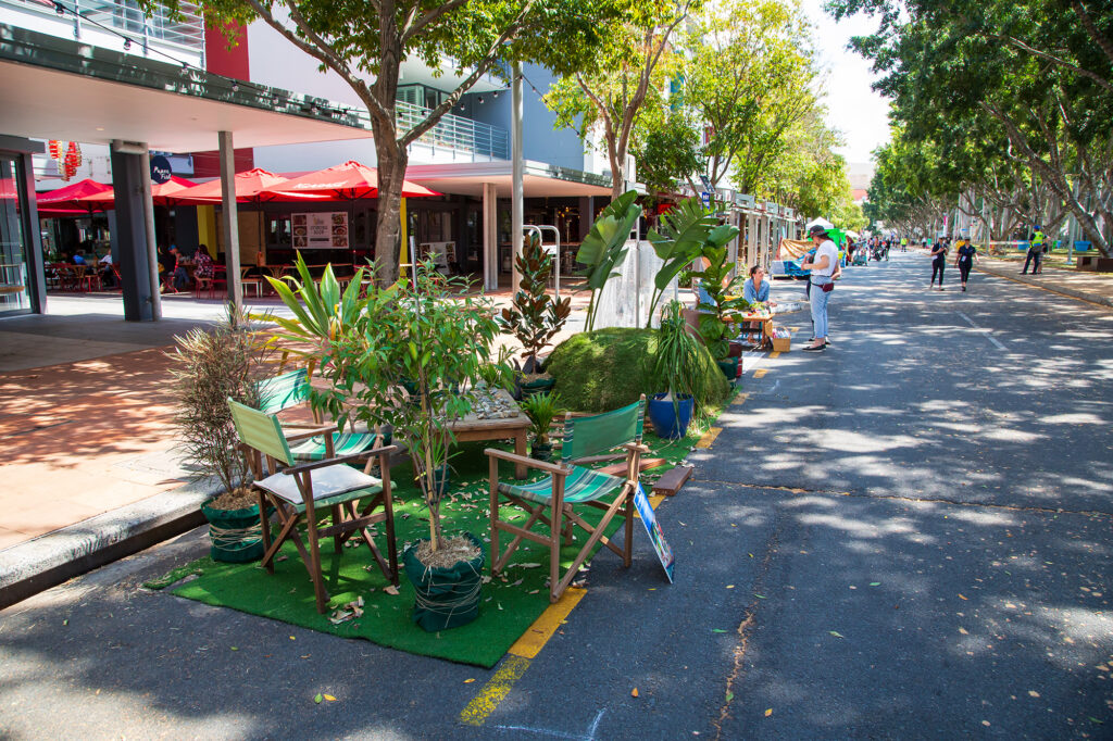 Reclaimed carpark during Brisbane's 2019 Park-ing Day. The response of cities to COVID-19 restrictions draws heavily on recent experiments in tactical urbanism. Photo: Brisbane City Council