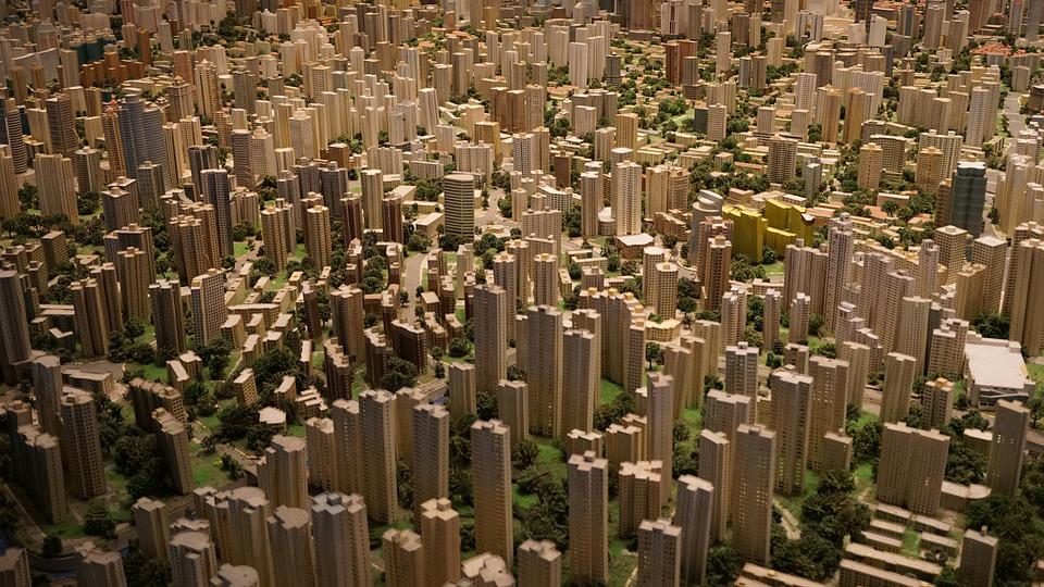 Model of high density cityscape