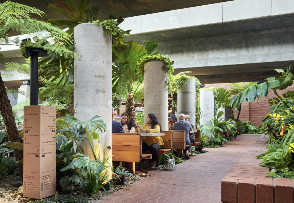 Fish Lane Town Square, winner of 2021 AILA QLD Award of Excellence for Civic Landscape. Photo: Scott Burrows